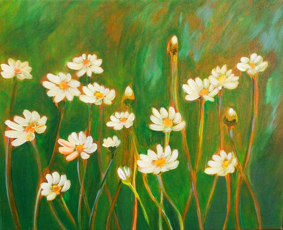 Original Modern Flowers Acrylic Painting by GalleryOffBroadway, $40.00