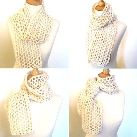 Ivory White Hand #Knitted #Lace #Scarf Wrap by KnittingGuru