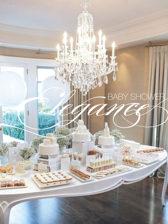 Lovely all white baby shower