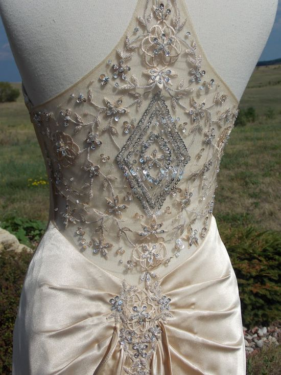 Champagne Beaded 1930s Inspired Wedding dress reception dress alternative dress. $599.00, via Etsy.  Must learn how to do the work on the back of this dress!