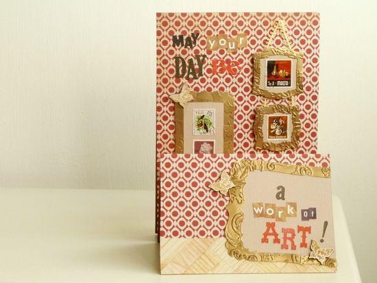 Cardmaking: a framed-postage-stamp 3D-art-gallery-scene stepper-card - by Julie Kirk