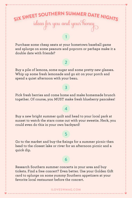 Ideas for Southern summer date nights!