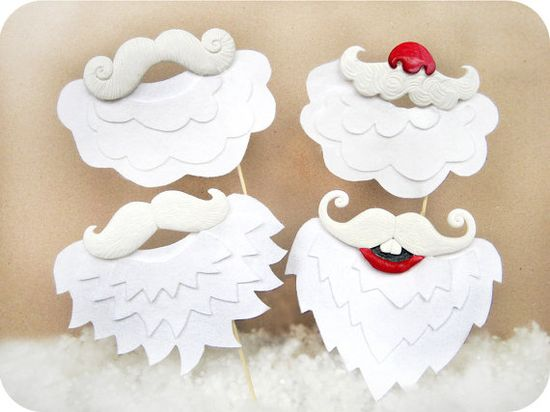 Santa Mustaches with Beards on sticks - Holiday Christmas Photo Booth Props set of 4