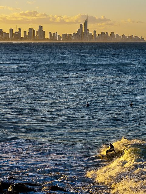 Surfing at sunset, Surfer Paradise, Queensland, Australia
