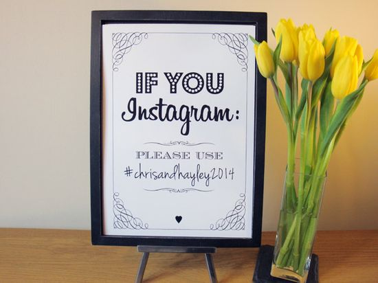 """So awesome! If you """"Instagram/FB/Twitter, use..."""" signs are a great way to invite everyone to document your special day // Found @HelloMyGem on Etsy"""