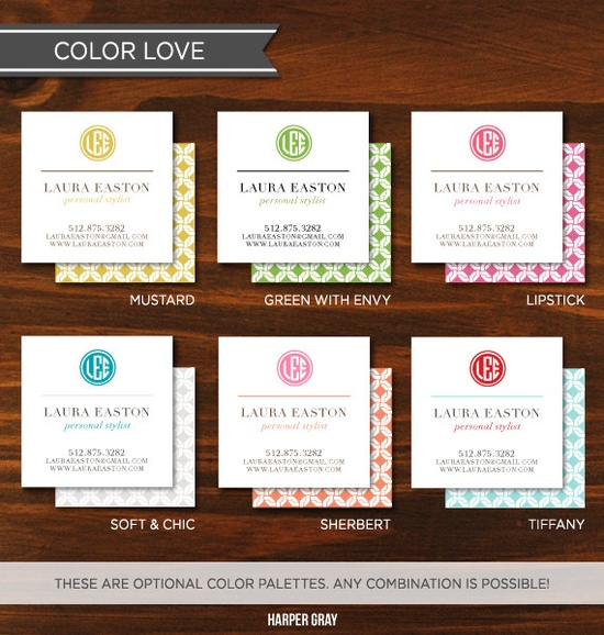 Monogram Calling Cards and Business Cards