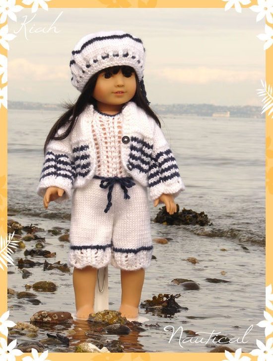 "American Girl Doll - Kiah, is a hand knitted jump suit complete with coordinating cardigan and beret designed to fit American Girl Dolls & 18"" Gotz Dolls"
