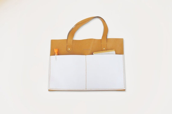 beautiful form & functional leather handbag via @satsuki shibuya