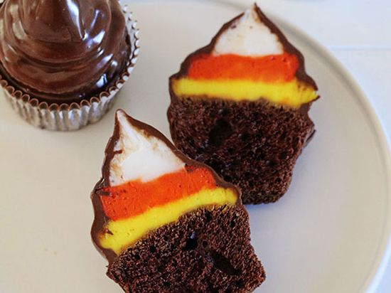 Candy Corn Hi-Hat Cupcakes