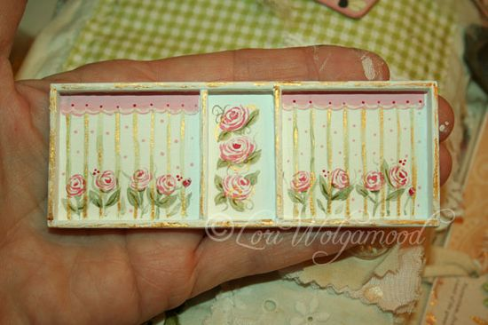 Roses No. 9 Painted - Handmade Frame for Miniature doll House - Vintage Nest Designs, Creative Handmade and Hand Painted Designs