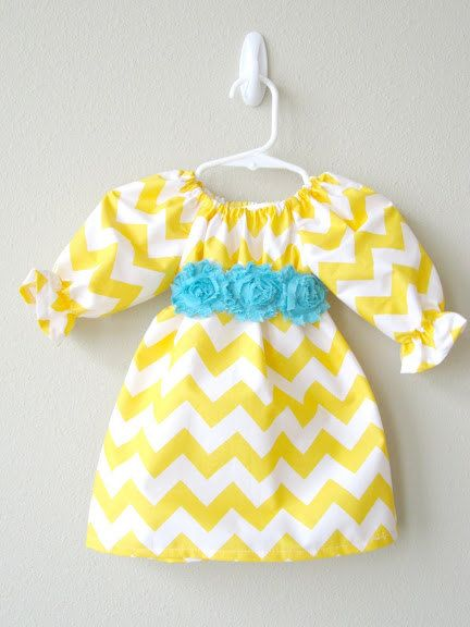 Baby Girl Dress Yellow Chevron with Turquoise