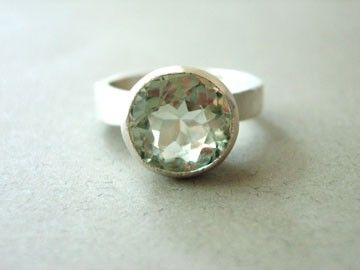 Sole (Green Amethyst): Love the icy combo of this pale green and sterling silver. Sz 6 . $89