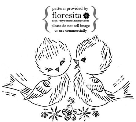 Vintage embroidery pattern- lovebirds