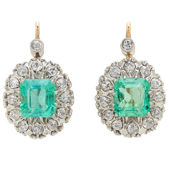 Emerald, Diamond, Platinum & 18K Rose Gold Earrings, Circa 1900