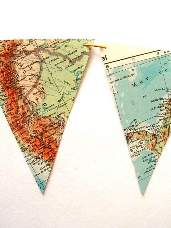 recycled vintage map bunting from Etsy