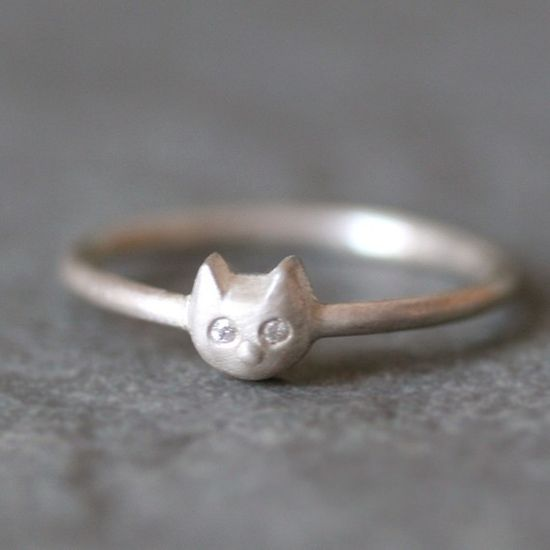 Baby Kitten Ring in Sterling Silver with by MichelleChangJewelry, $120.00