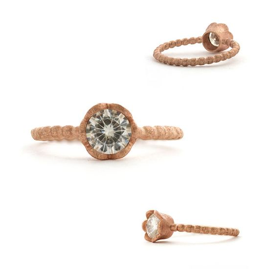 Rose Gold and Moissanite Ring