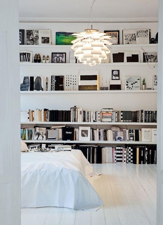 white bedroom / library / bookshelf / books