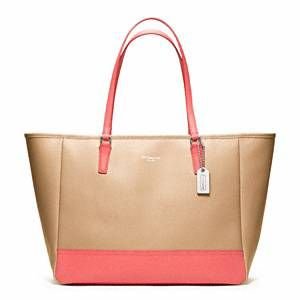 coach colorblock pink & camel tote