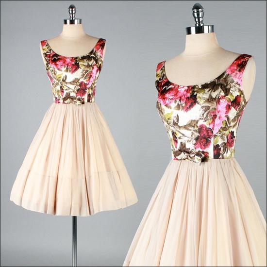 Vintage 1950s Nude Chiffon Floral Brocade Dress