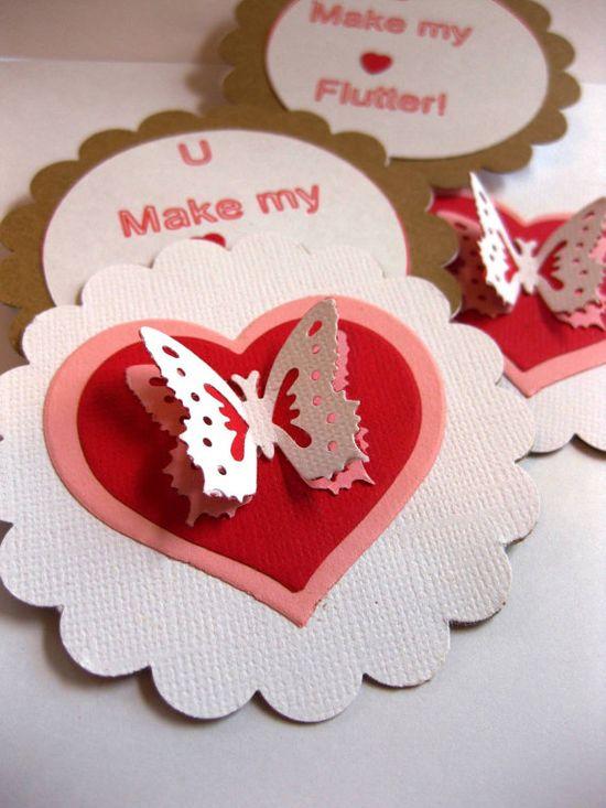 "3"" Handmade valentines cards"