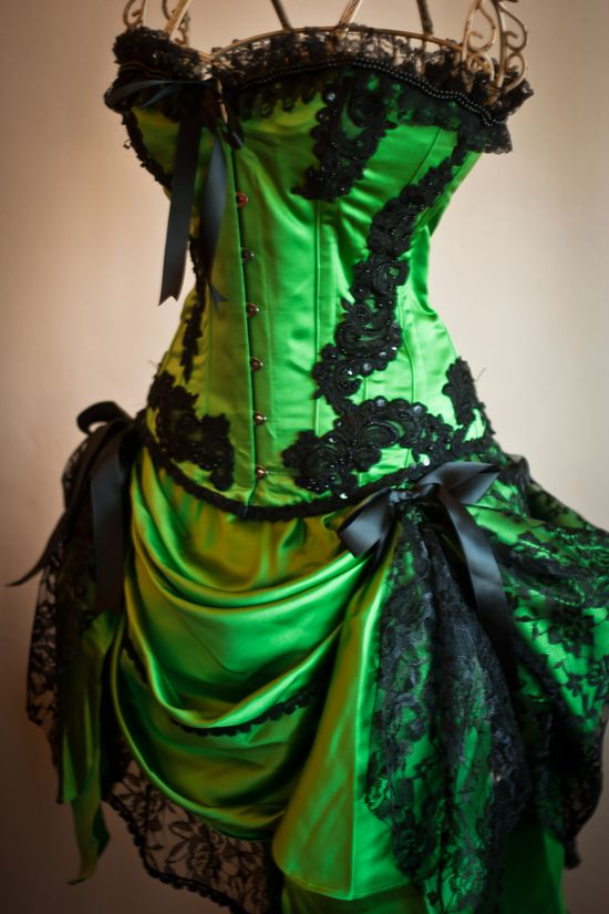 GREEN GYPSY - Steampunk Green Black Burlesque Corset Costume dress. $295.00, via Etsy.