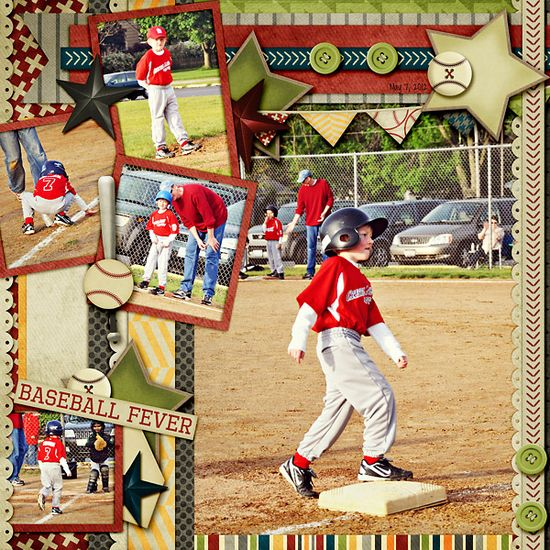 .scrapbook  page baseball forever layout