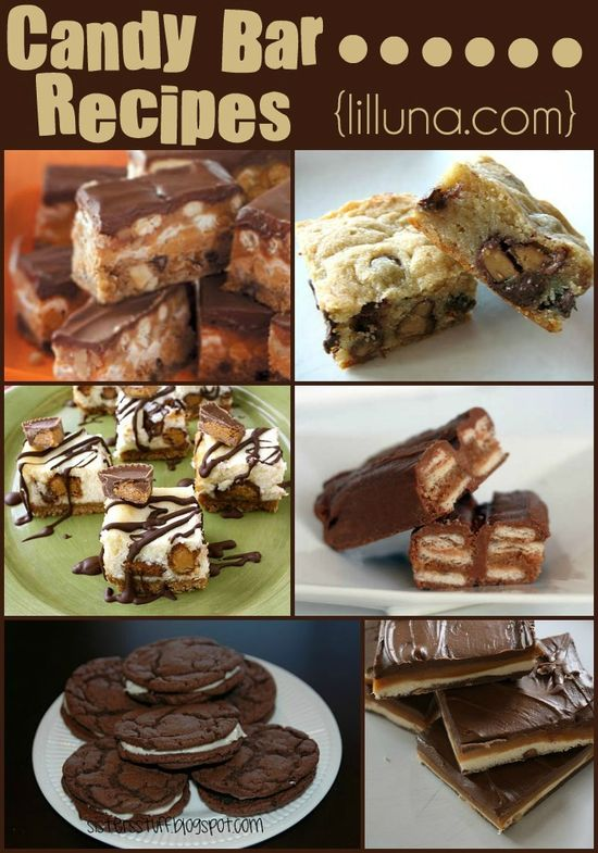 Several delicious candy bar recipes! YUM! { lilluna.com }