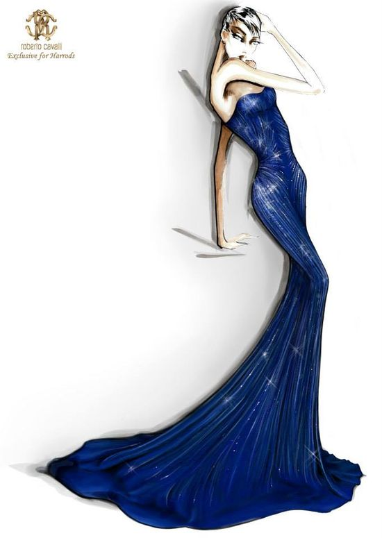 Roberto Cavalli Sketches Exclusive for Harrods