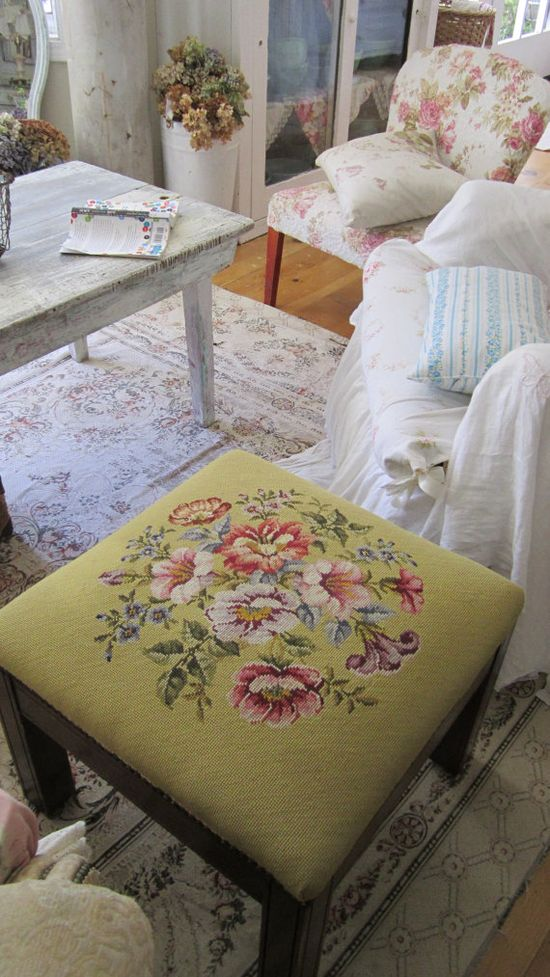 Victorian needlepoint floral stool  shabby by whitecottageinhills