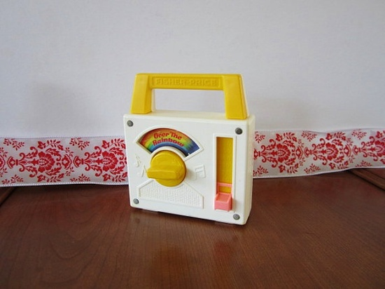 """Vintage Fisher Price Small Toy Radio-- Plays """"Over The Rainbow"""""""