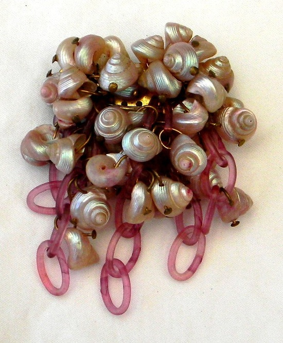 Vintage 1940s WWII Miriam Haskell Style Celluloid Seashell Brooch. via Etsy.