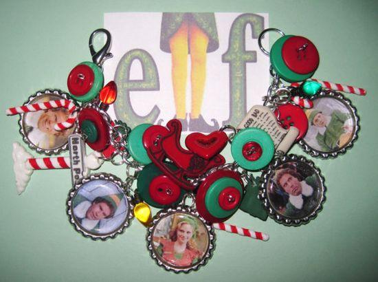 Buddy the Elf Charm Bracelet Christmas Movie Jewelry OOAK by Jynxx, $35.00