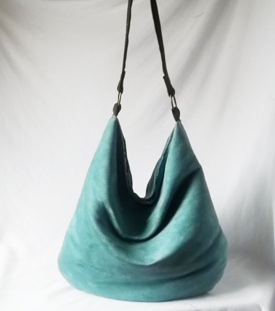 Teal Hobo  Turquoise Vegan suede slouch bag  Handmade by ACAmour, $48.00