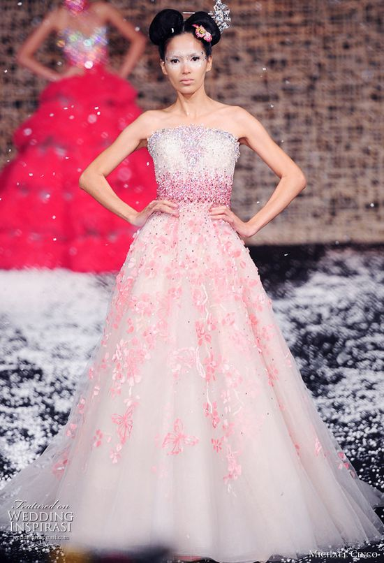 Pink wedding dress from Fall/Winter 2011 haute couture collection by Filipino designer Michael Cinco. Beautiful!