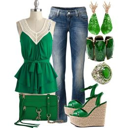 Emerald green summer outfit , jeans & nice wedges - Enchanted Fairy