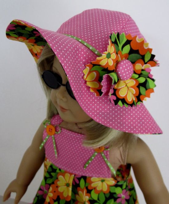 Sundress and Hat in Bright Floral and Pink Dot