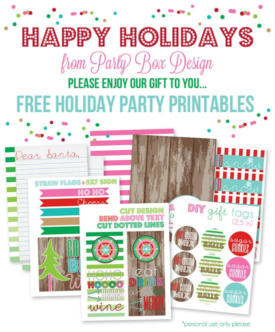 Free Holiday Party Printables-