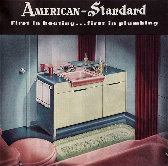 1949 Bathroom by American Standard    Standard Sanitary was formed in 1899 and advertised widely and in gratifying color for decades. Great contrast in the colors here.