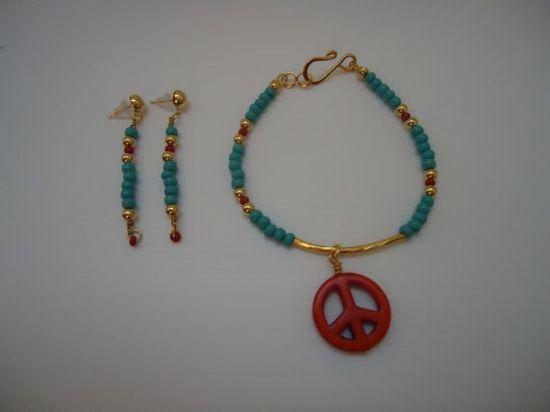 Turquoise Bracelet Skinny Bracelet Peace Sign Jewelry by cdjali, $18.00