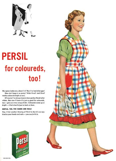 Use Persil Washing Powder for coloureds, too! #vintage #1950s #laundry #ads #homemaker