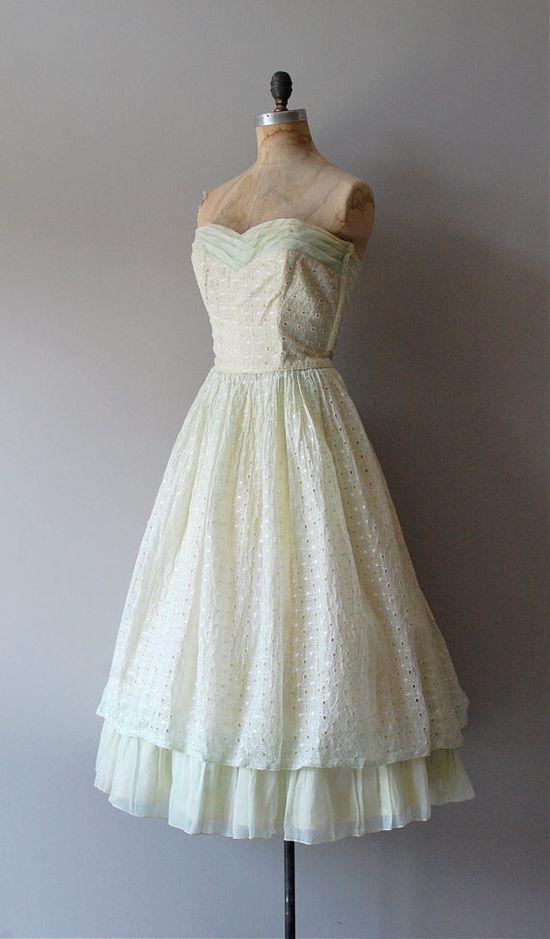 1950s dress / 50s strapless dress / Honeydew Eyelet by DearGolden