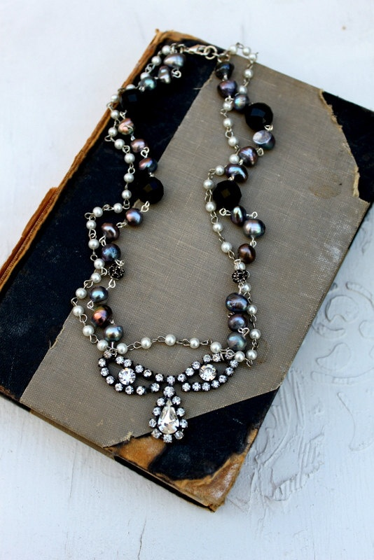 Vintage Rhinestone and Pearl Necklace  by simplymeart.etsy.com -Lovely!