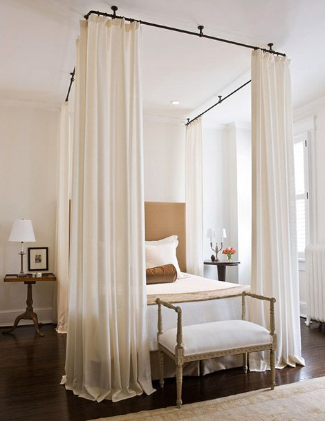 """{diy} measure WxL on bed. Choose a metal rod/curtain rod/decorative that is about 2-3"""" WxL than the bed measurements. Measure the height from rod to floor. Fabric (what appeals to you) should be several inch longer to allow for hem & circle rings/curtain strips/sewn rod insert. Hang canopy. If you choose, you can make it slightly longer than the boxspring to sew on beaded/other decor fringe."""