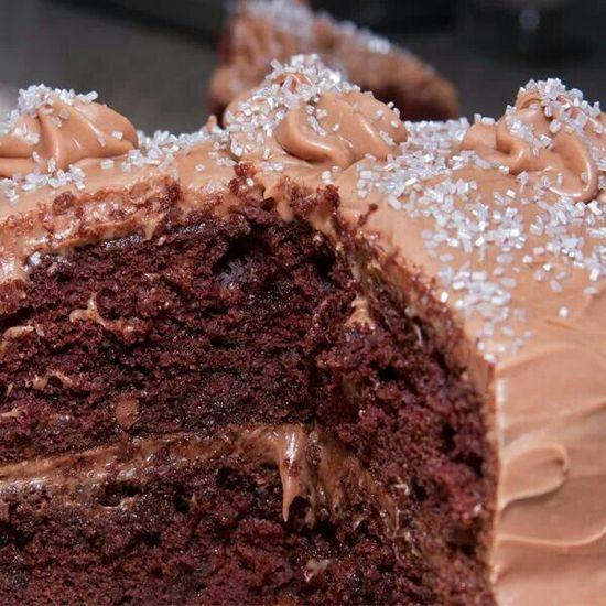 Mocha cream frosted chocolate cake