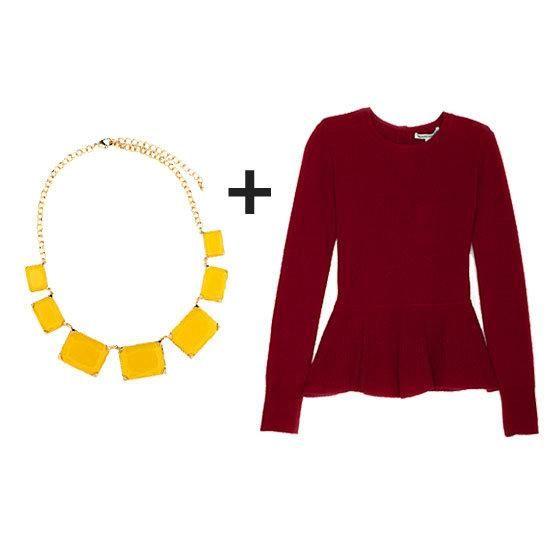 statement necklace + oxblood peplum top