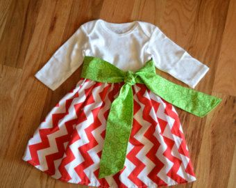 Red Chevron Baby Onesie Dress