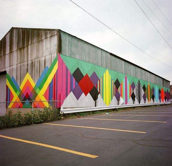 Maya Hayuk colorfully painted barn from the streets of Brooklyn