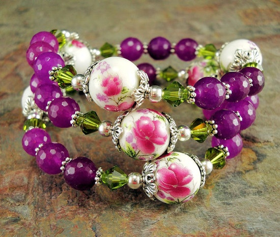 Magenta Beaded wrap bracelet