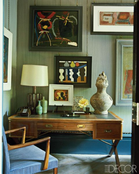 Room/Style: Home Office,  Contemporary,  Eclectic Notes: The desk in Steven Gambrel's Manhattan library is by Jansen.   Photographer: William Waldron  Designer: Steven Gambrel